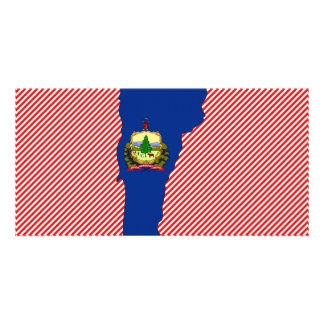 Vermont Flag Map Personalized Photo Card