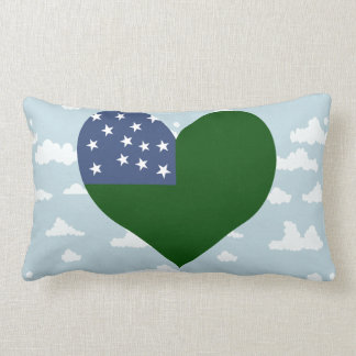 Vermont Flag on a cloudy background Throw Pillow