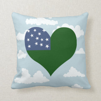 Vermont Flag on a cloudy background Throw Pillows