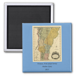 Vermont, From actual Survey - Vintage 1814 Map 2 Inch Square Magnet