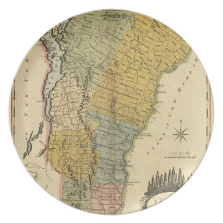 Vermont, From actual Survey - Vintage 1814 Map Dinner Plate