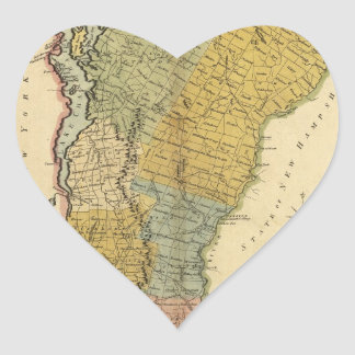 Vermont, From actual Survey - Vintage 1814 Map Heart Sticker