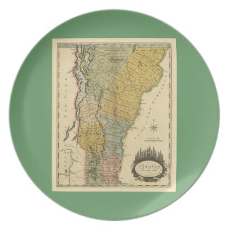 Vermont, From actual Survey - Vintage 1814 Map Melamine Plate