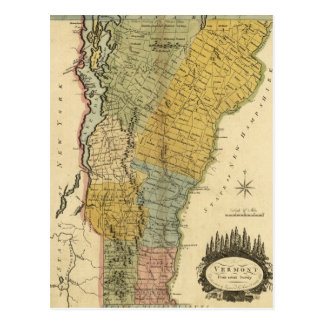 Vermont, From actual Survey - Vintage 1814 Map Postcard