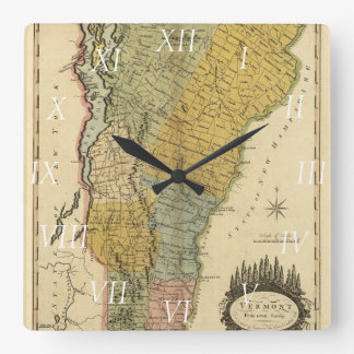Vermont, From actual Survey - Vintage 1814 Map Square Wall Clock