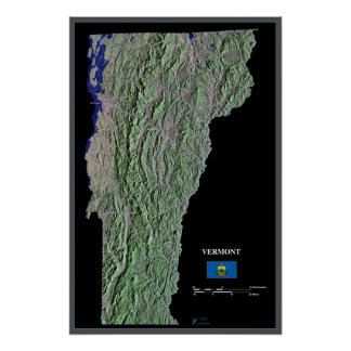 Vermont from space satellite poster