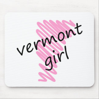 Vermont Girl with Scribbled Vermont Map Mouse Pad