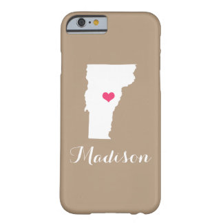 Vermont Heart Mocha Brown Custom Monogram Barely There iPhone 6 Case