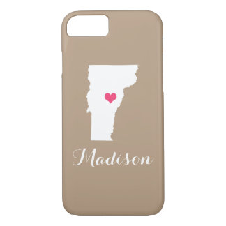 Vermont Heart Mocha Brown Custom Monogram iPhone 8/7 Case