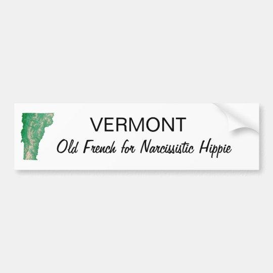 Vermont hippie bumper sticker