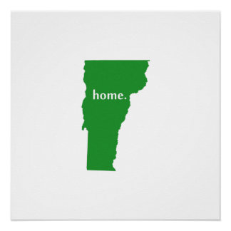 Vermont home silhouette state map poster