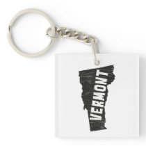 Vermont Home Vintage Map Silhouette Keychain
