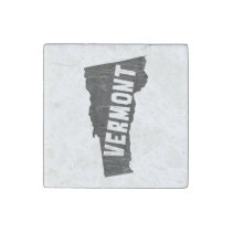 Vermont Home Vintage Map Silhouette Stone Magnet