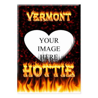 Vermont Hottie fire and red marble heart. Large Business Card