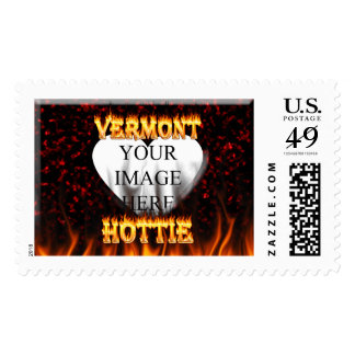 Vermont Hottie fire and red marble heart. Postage Stamp