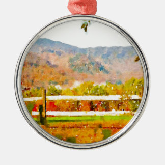 Vermont in the Fall Round Metal Christmas Ornament
