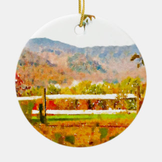 Vermont in the Fall Double-Sided Ceramic Round Christmas Ornament