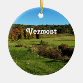 Vermont Landscape Double-Sided Ceramic Round Christmas Ornament