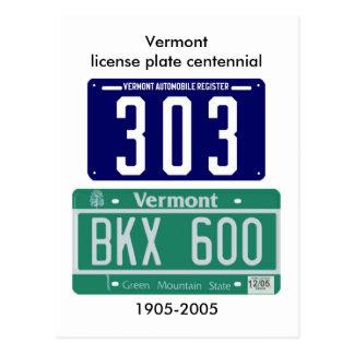 Vermont license plate centennial postcard