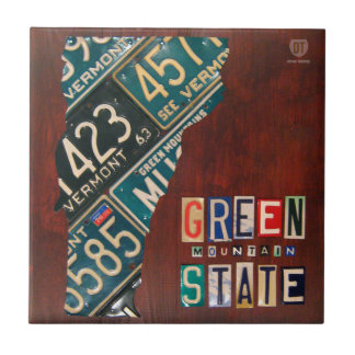 Vermont License Plate Map Ceramic Tile