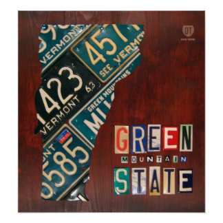 Vermont License Plate Map Print