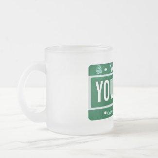 Vermont license plate mug