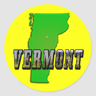 Vermont Map and Picture Text Classic Round Sticker