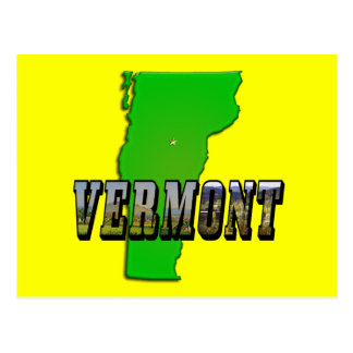 Vermont Map and Picture Text Postcard