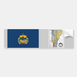 Vermont Map and State Flag Bumper Sticker
