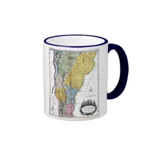 Vermont Map and State Flag Ringer Coffee Mug