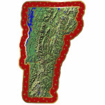"Vermont Map Christmas Ornament Cut Out<br><div class=""desc"">This acrylic ornament shaped from a relief map of Vermont surrounded by festive trim will add novel Vermont flair to your seasonal decorations. Also available as a pin,  magnet or keychain. 