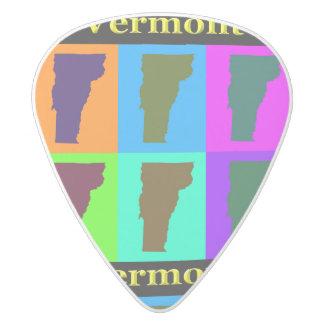 Vermont Map White Delrin Guitar Pick