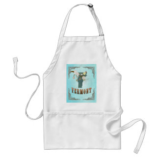 Vermont Map With Lovely Birds Adult Apron