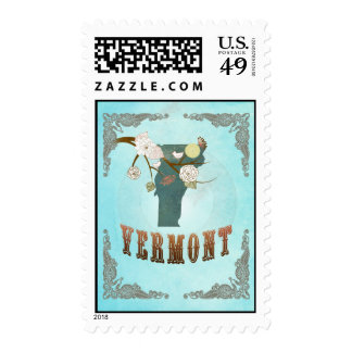 Vermont  Map With Lovely Birds Postage Stamp