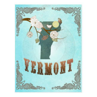 Vermont Map With Lovely Birds Postcard