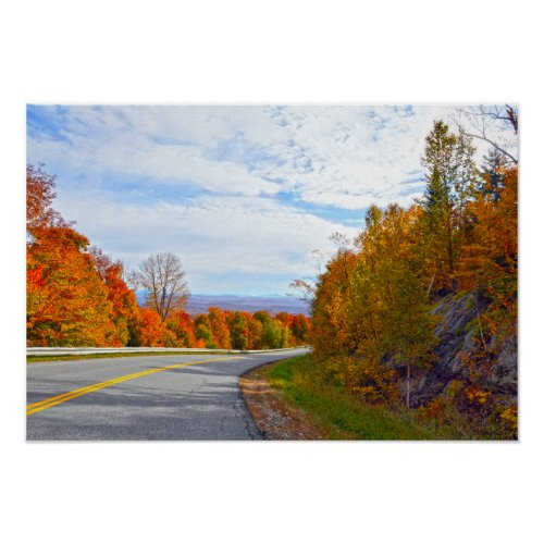 Vermont Mountain Road, Autumn Poster