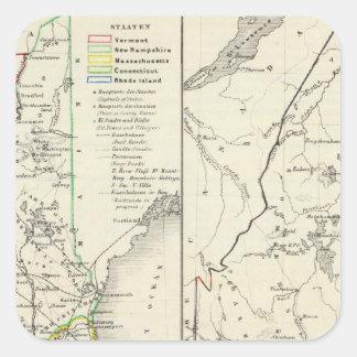 Vermont, New Hampshire, Massachusetts Calcomanías Cuadradass