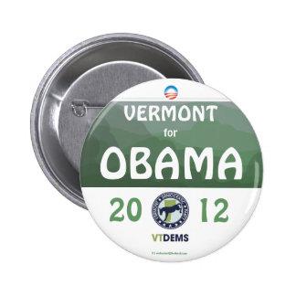 Vermont oficial para el pinba político de Obama en Pin Redondo De 2 Pulgadas