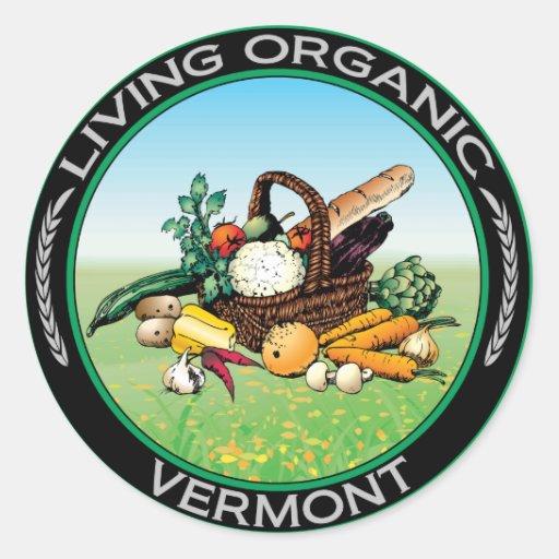 Vermont orgánico pegatina redonda