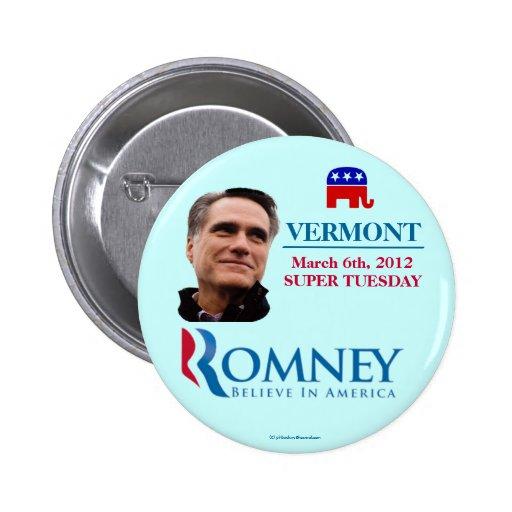 Vermont para Romney 2012 martes estupendo político Pin