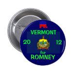 Vermont para Romney 2012 Pins