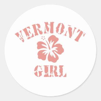Vermont Pink Girl Classic Round Sticker