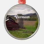 Vermont Round Metal Christmas Ornament