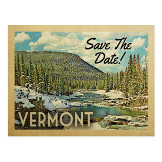 Vermont Save The Date Mountains River Snow Postcard