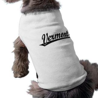 Vermont script logo in black distressed shirt