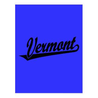 Vermont script logo in black post cards