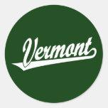 Vermont script logo in white classic round sticker