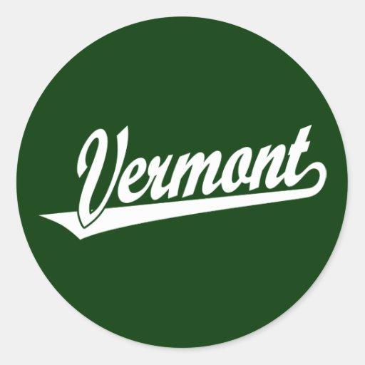 Vermont script logo in white round stickers