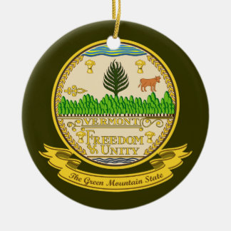 Vermont Seal Double-Sided Ceramic Round Christmas Ornament