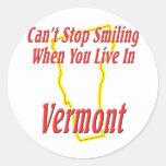 Vermont - Smiling Classic Round Sticker